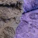 Chiffon mit Rosetten, schwarz+lila